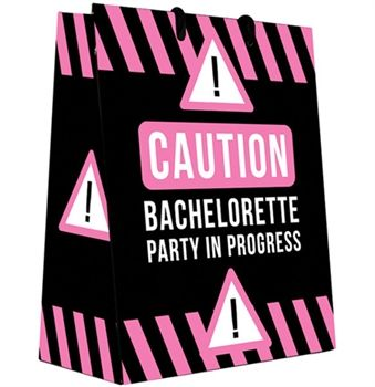 Put the Bride's Bachelorette Gift in this cute Caution Bachelorette Party Gift Bag - just $1.99 at www.TheHouseofBachelorette.com !