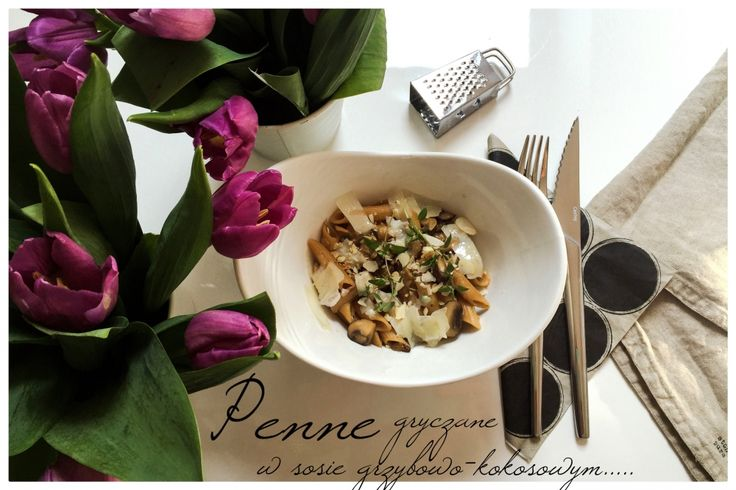 Gluten-free buckwheat noodles in sauce with ceps, brown mushrooms with creamy coconut milk , fresh thyme and roasted almonds