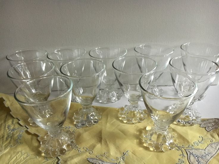 11 Vintage Clear Crystal Glass Stemware, Anchor Hocking Boopie Ball, Liquor Glasses, Cocktail glass, Sherbet Ice Cream dish by KyriesTreasureChest on Etsy