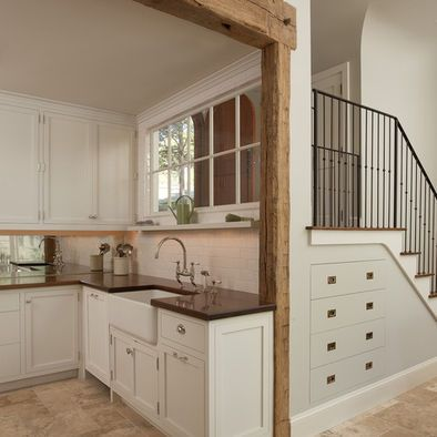 Load Bearing Wall Beam W Reclaimed Wood Kitchen