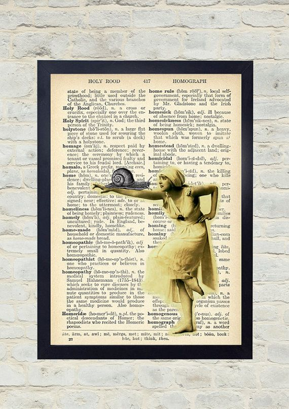 Vintage Dictionary Art Print. The dance of the snail. Original Artwork. Old paper print. Vintage Illustration poster. Home wall Decor.