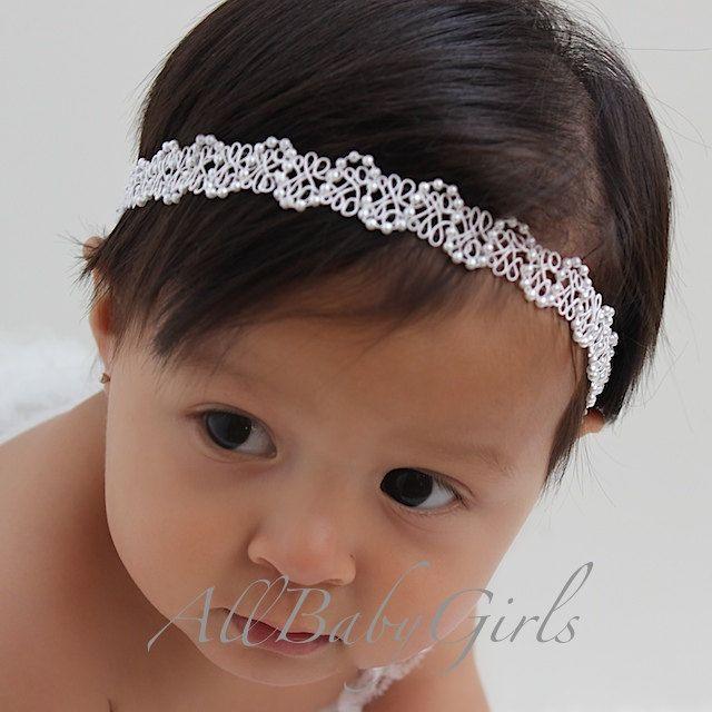 White Baby Girl Baptism Christening Halo Headband by AllBabyGirls, $8.95