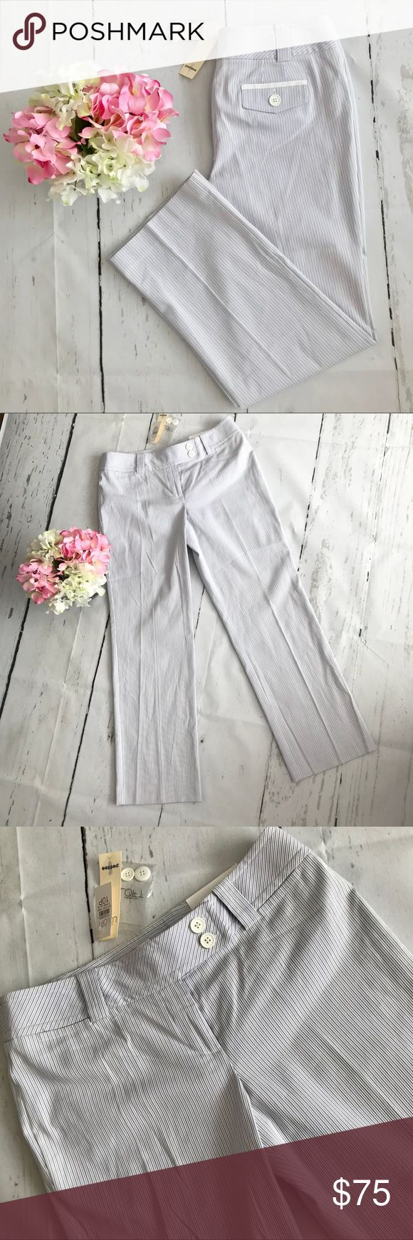 Ann Taylor Loft Striped Pants Petite Beautiful Ann Taylor Loft striped pants in colors white, gray and blue. •Size 10 Petite  •100% Cotton   🚫No Trades 🚫  📦 Fast Shipping 📦 💵 Open to Offers 💵  💕 Willing to Bundle 💕 ➵ Pet free home 🐶 ➵ Smoke free home 🚬 🌸Always Shipped the same or next day🌸 Ann Taylor Pants