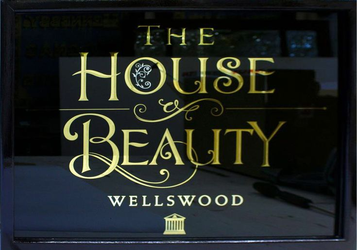 House of Beauty projecting gilded glass sign, Torquay, UK.  (Dave Smith by permission)  http://davidadriansmith.com/