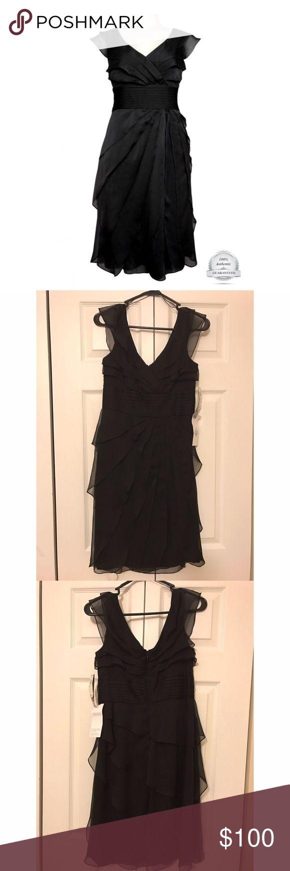 The Little Black Dress, Size 2 (Petite) Adrianna Papell Cascading Tier Chiffon Dress (Petite), Size 2 Adrianna Papell Dresses
