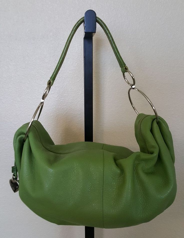 Sharif Studio Green Leather Hobo Handbag with Cosmetic Bag #Sharif #Hobo