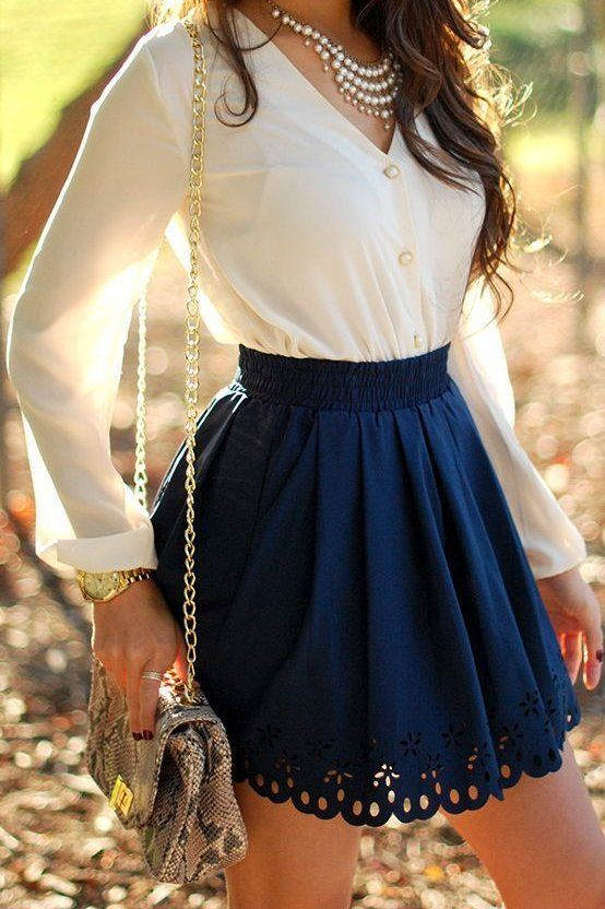 -cute white pearl necklace, white long sleeve button down shirt, blue lace high waisted skirt spring outfit-