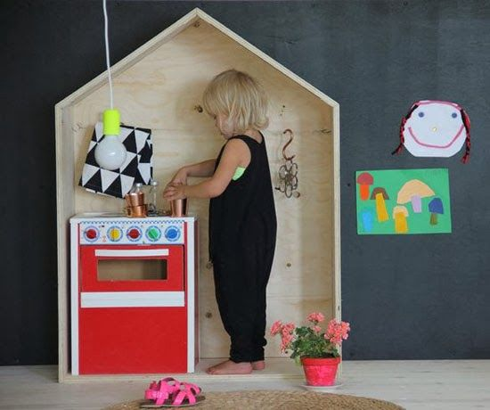 "Love these ideas! Sides could screw into back and be hinged at the corners for fold-up storage, too. Also could be a bit larger (anchored to wall) and could include a chalkboard secured to the back 'wall' for quick design. ""Draw what you'd see out a window"" or move any 'set' furniture out and use to practice writing or drawing anything."