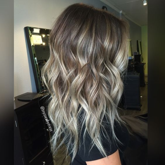 Ash Blonde Balayage Ombre Hairstyles - Medium, Long Wavy Haircut