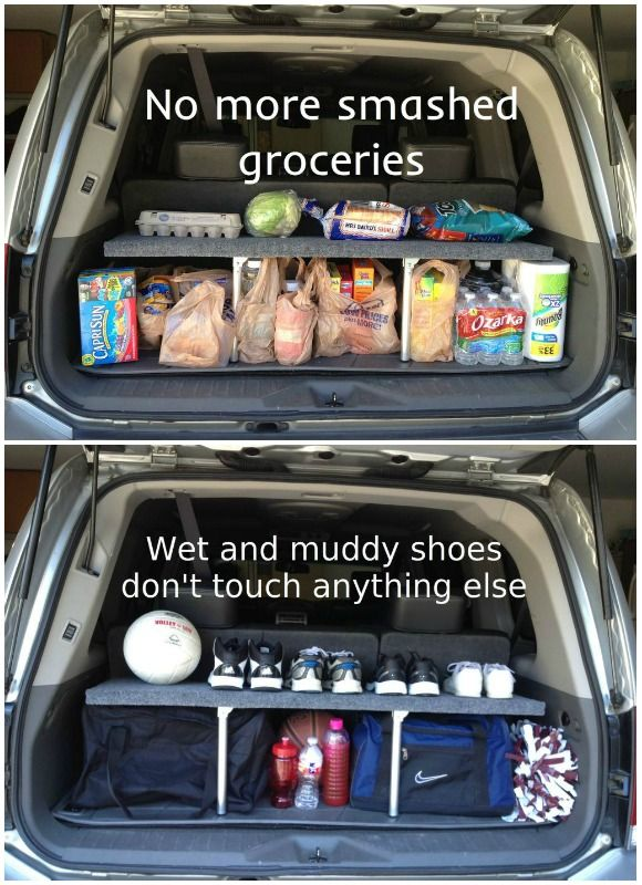 Hack your SUV's trunk space by making it double-decker. This DIY shelf helps organize cargo, and folds up when not in use. See more at Instructables » - GoodHousekeeping.com