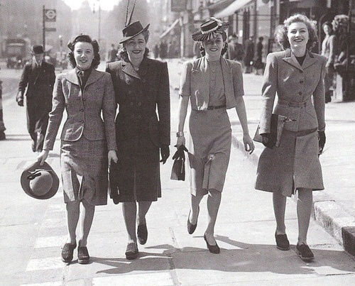 WWII Fashion-fabric was rationed and women didn't have much time to worry about clothing. Fashions of the day were more simple and borrowed from the boys. In fact, many fashion magazines had tutorials on how to alter men's suits to fit women since the suits weren't getting much use!