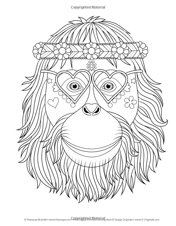 Amazon Hippie Animales Coloring Book Colorante Es Diversin 9781497202085