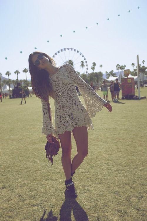 modern boho chic fashion trend, hippie crochet dress, bohemian lifestyle
