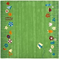 Handmade Children's Summer Grass Green N. Z. Wool Rug (6' Round) | Overstock.com Shopping - The Best Deals on Round/Oval/Square