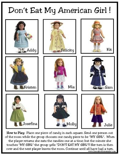 American Girl party game and free printable!  Perfect for a party activity or make as a party favor.
