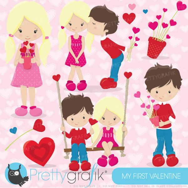 Valentine Kids clipart - great for Valentine's cards, invitations, scrapbooking and crafts.