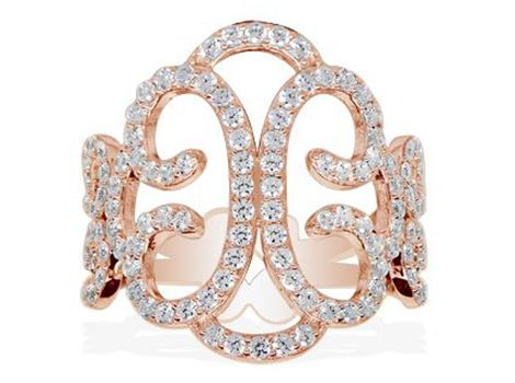 APM Monaco #rose #gold plated filigree dress ring with round cubic zirconias. | #thomasjewellers