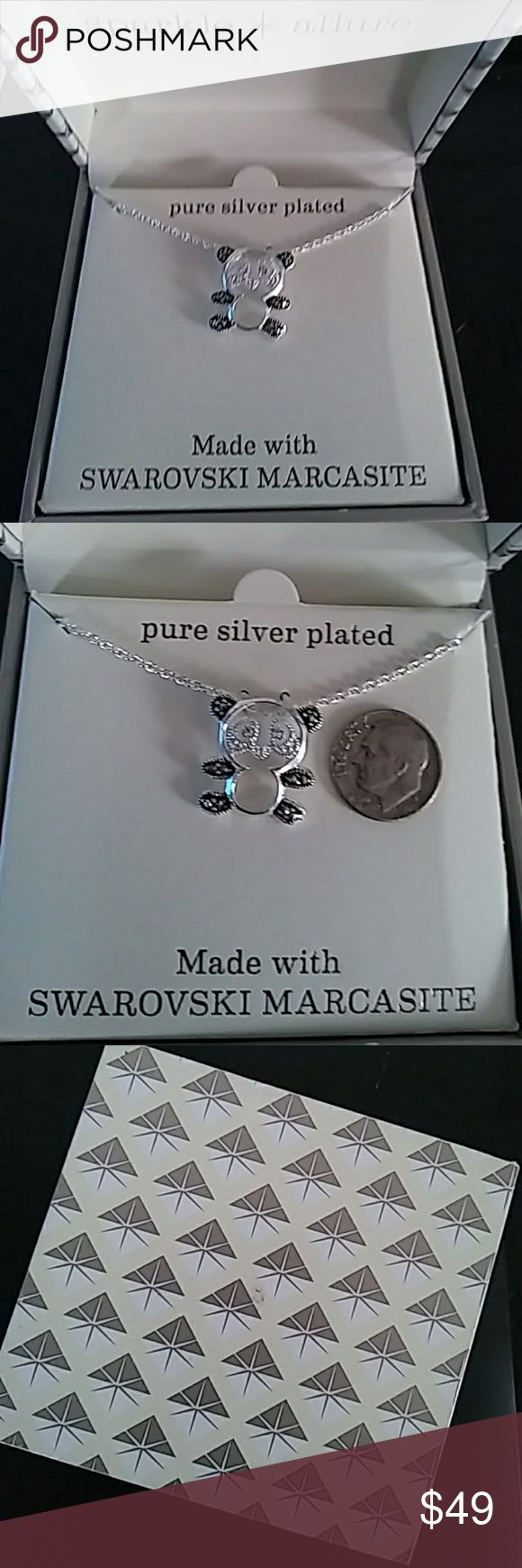 SWAROVSKI 💎🎅🆕 🎄MARCASITE Necklace 🎁 CUTE New with tags and original case box SWAROVSKI 💎 MARCASITE silver plate necklace - Exquisite and delicate - As shown  🎄GREAT AS GIFT 🎅open to offers - trough offer link only please  MARKDOWN 🔻 reg $60 🔻 ONLY 3 DAYS    FIND ME 🔍 @fashionlulys  #panda#pendant#chain#present#gift#sale#vintage marcasite style lovers#set#markdown#clearance#marquesitas#plata#oso#osito jcpenney Jewelry