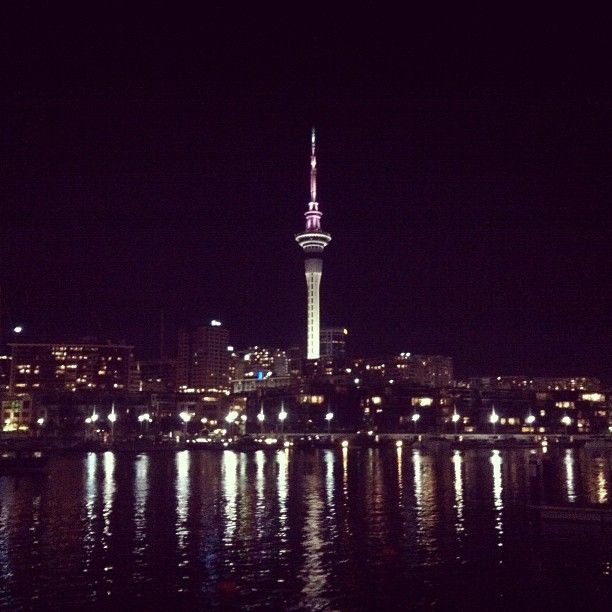 #auckland #nz #skyline #night #lights #reflections #city #harbour #skytower #tower