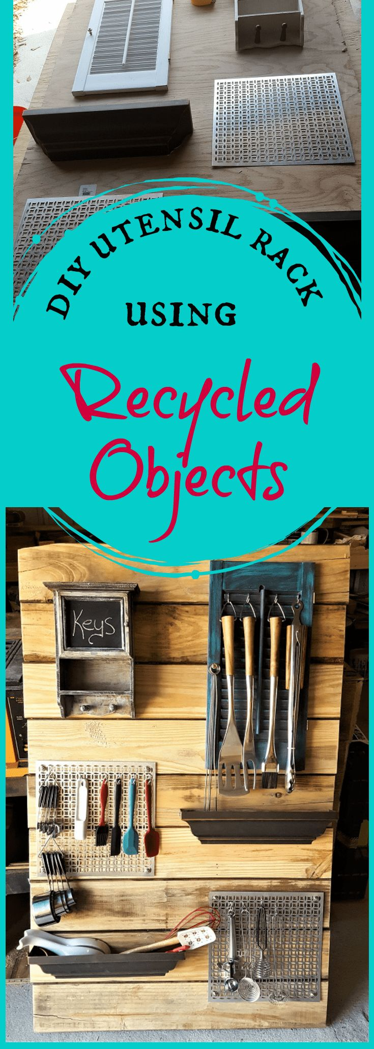 DIY Utensil Rack from Recycled Objects ~ Teadoddles