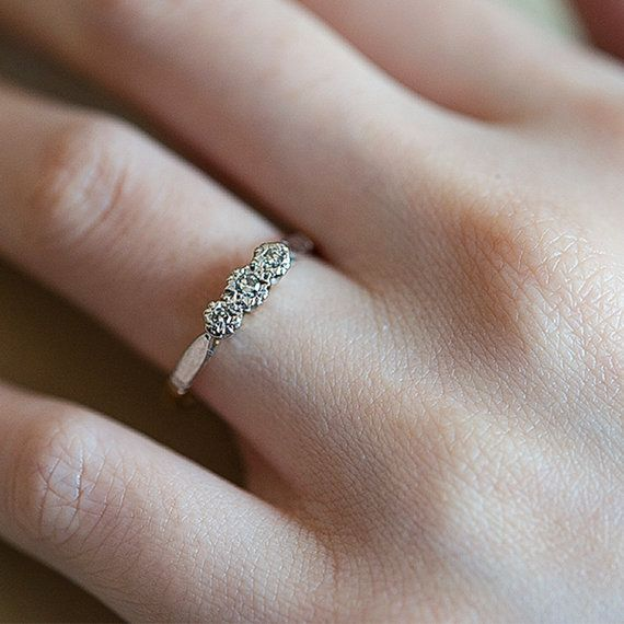 Vintage Diamond Ring Antique Edwardian Diamond Ring by fineNepic