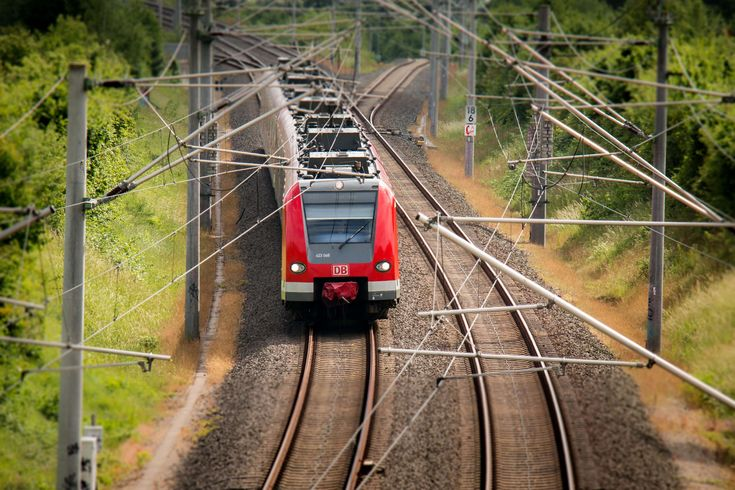 #catenary #deutsche bahn #electric train #masts #overhead line masts #power lines #rails #railway #railway line #train #train tracks #transport