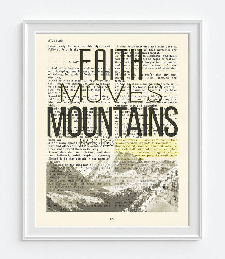 Faith Moves Mountains- Mark 11:23 -Vintage Bible Highlighted Verse Scripture Page- Christian Wall ART PRINT