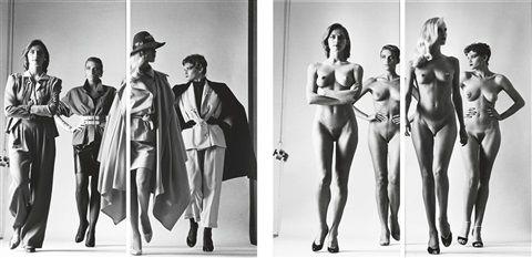 Sie Kommen, Paris - Naked and dressed, Vogue Studios (4 works) von Helmut Newton