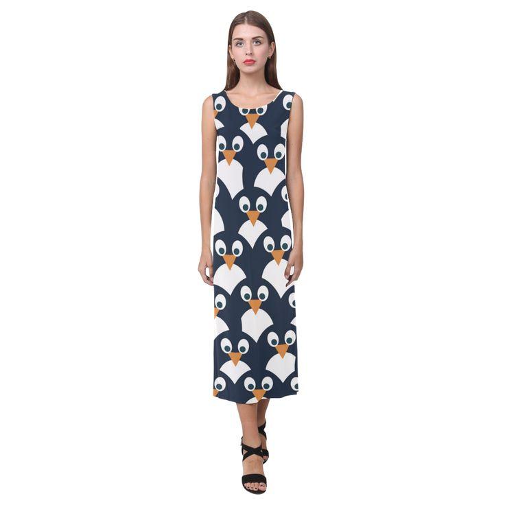 Penguin Pattern Phaedra Sleeveless Open Fork Long Dress (Model D08)