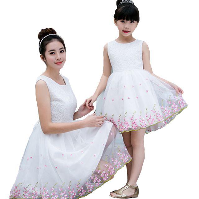 Familia Juego Trajes Floral Madre Hija Vestidos 2016 Nuevos Vestidos de Verano de Algodón de La Muchacha Linda Sin Mangas de Flores Vestido de Los Niños