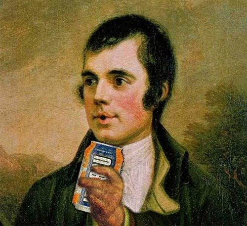 Two of our most famous children! Irn Bru & Rabbie Burns!