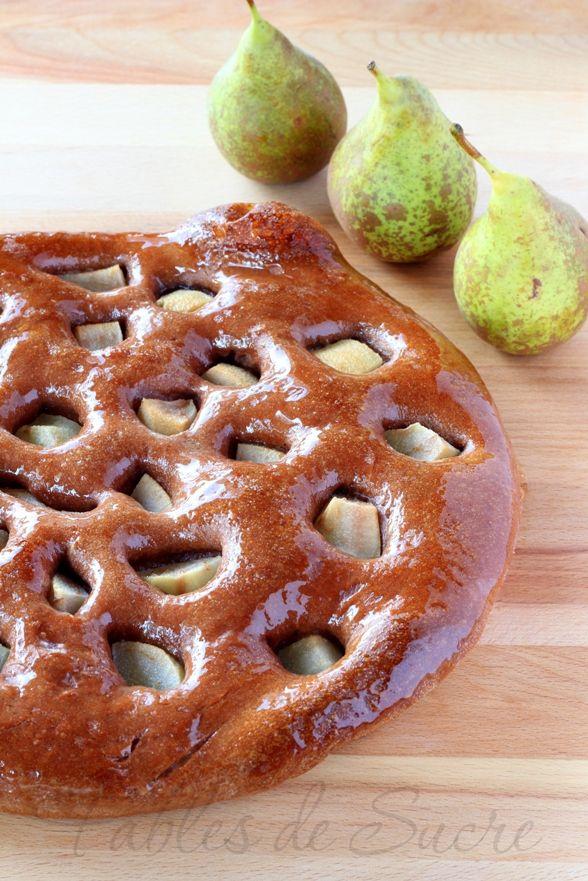 Focaccia Dolce con Pasta Madre alle Pere e Cacao