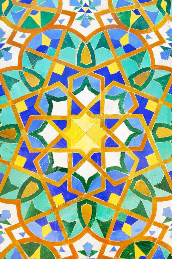 Moroccan Mosaic Tile Ceramic Decoration Of Hassan Ii Mosque