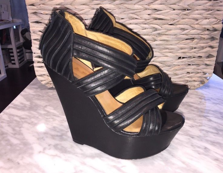 LAMB Gwen Stefani Black Leather Bernadette Platform Wedge Sandals Women's size 9