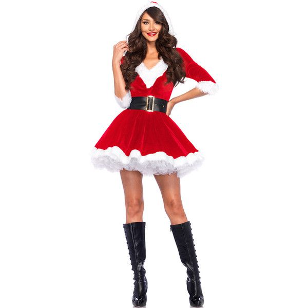 Red Velvet V Neck Hooded Santa Costume ($28) ❤ liked on Polyvore featuring costumes, red, white halloween costumes, sexy miss santa costume, white costume, sexy costumes and sexy santa costume