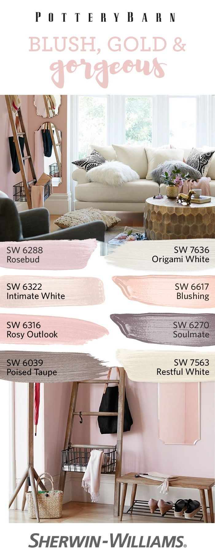 Rediscover the romance of any room, thanks to this rosy palette inspired by @PotteryBarn. Featuring blush tones and warm neutrals, including the Sherwin-Williams Color of the Year, Poised Taupe SW 6039, these hues combine perfectly with gold decor for a look that says love at first sight.