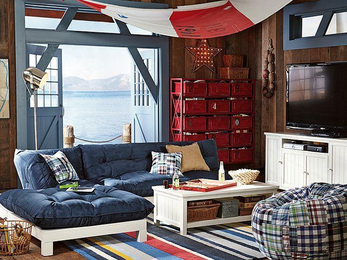 I love the PBteen Flip Floor Nautical Lounge on pbteen.com, Love the futon sectional in denim!