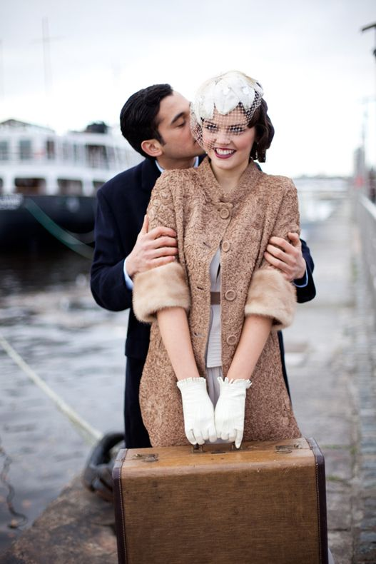 Sail Away With Me ~ A 1930s Inspired Wedding Inspiration Shoot with 50s lace coat and short gloves