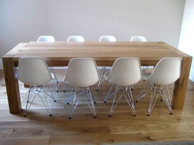 Contemporary Oak Dining Table By Makers Bespoke Furniture With Eames Chairs