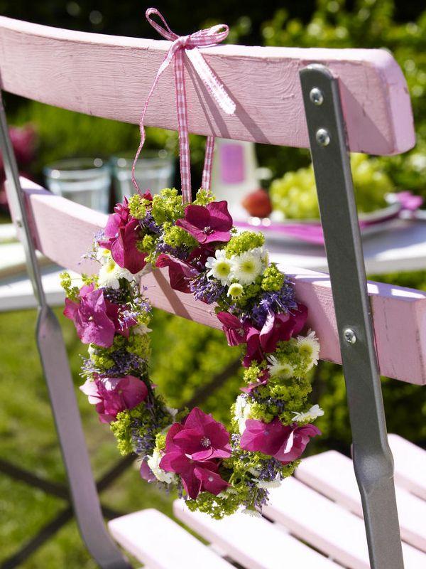 2 Steckdrähte (vom Floristen)Blumenband (z. B. Gottacoll; vom Floristen)ca. 2 Hortensienzweigeca. 6 Stiele Frauenmantelca. 6 Stiele