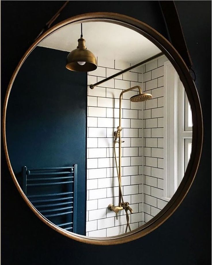 How beautiful is this Brass & Metro Bijou Bathroom by interior blogger,@design_soda_ruthie featuring our Brooklyn Vintage Small Metal Dome Pendant Light - Brass - 8 inch?! We are in love! #industville #industrial #lighting #brass #blue #bathroom #vintage #style #interiors