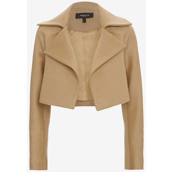 Derek Lam Cropped Camel Jacket (130.375 RUB) found on Polyvore featuring outerwear, jackets, collar jacket, derek lam, beige jacket, lined jacket and long sleeve jacket