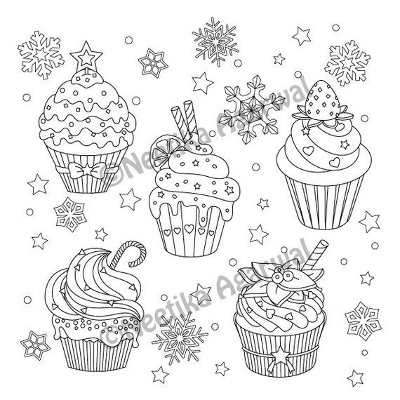 Christmas Cupcakes Adult Coloring Page Christmas Coloring Page
