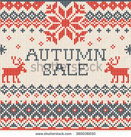 illustration Autumn sale: Scandinavian style seamless knitted pattern with deers. Red, blue and white colours. Flat style
