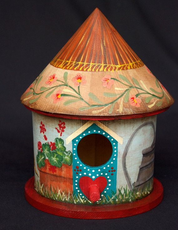 """SUMMER GARDEN BIRDHOUSE, Hand Painted With Red Base, by Alan Krug of """"Krug's Studio"""" Etsy shop $50. While this birdhouse is sealed with resin finishes, it is not suitable for longterm exposure to the elements. It is best displayed indoors or in a protected area outside.   ~  bird house folk art cottage shabby chic geranium heart Swedish outdoor garden art"""