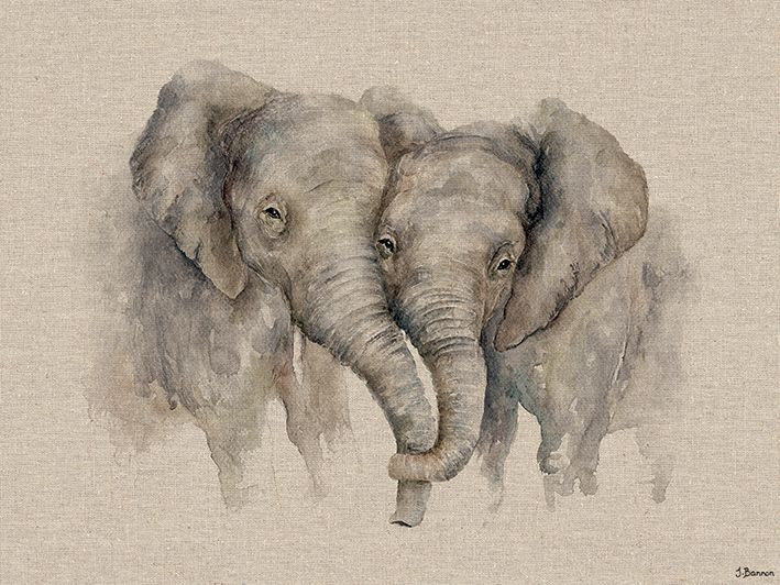 HELEN ROSE Limited Print of my ELEPHANTS IN LOVE art watercolour 461