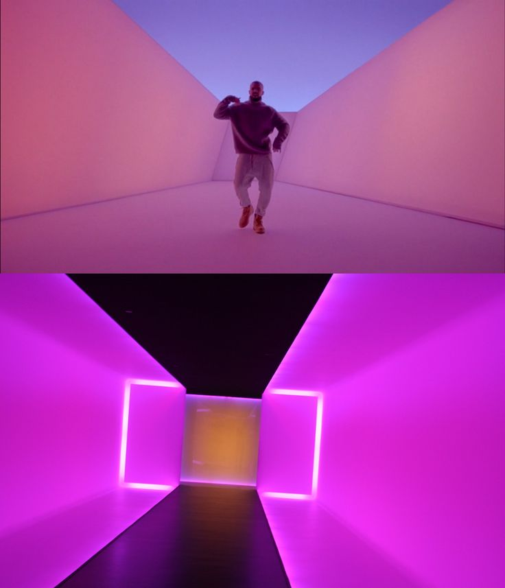 "Still from Drake's video with James Turrell's ""The Light Inside"" (1999) (bottom photo via @eschipul/Flickr)"