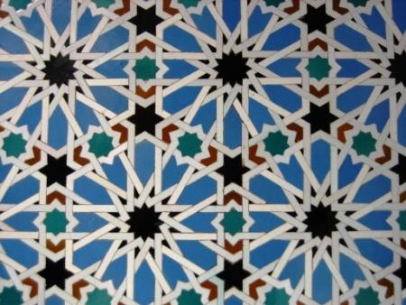 Alhambra in Granada. Arabic tile pattern