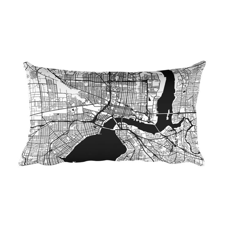 Jacksonville black and white throw pillow with city map print 12x20