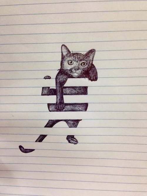 Cat climbing on lined paper - best drawing ever #doodles